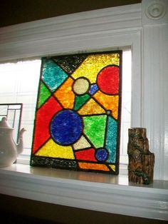 Vintage Stained Glass Style Fused Plastic Window Panel 1960s Modernism