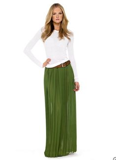 #pleated long pleated skirts are in for the fall and wasn't sure how to wear it, but I think think looks pretty classic.