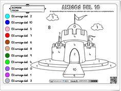 """""""Amigos del 10"""" (Colorea el castillo) Snoopy, Shapes, Comics, Learning, Kids, Crafts, Fictional Characters, Maths, Carrera"""