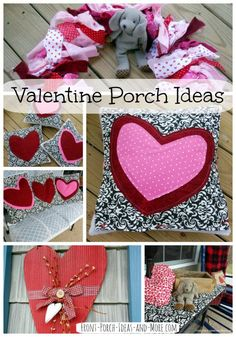 Get Valentine decoration ideas for your porch like our pink and red fabric wreath or pillow toppers that can be easily changed out for a different holiday or season. Front-Porch-Ideas-and-More.com #valentinewreath #valentinedecorations #porch