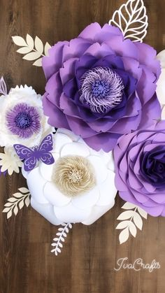 Large Paper Flower Arrangement, Purple Paper Flowers Wall Decor, Nursery Name Sign Flowers, Wedding Flower Wall Paper Flower Arrangements, Paper Flowers Craft, Large Paper Flowers, Paper Flower Wall, Paper Flower Backdrop, Flower Wall Decor, Flower Crafts, Flower Decorations, Floral Arrangement