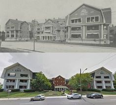 "cincylibrary: ""Then & Now: Haddon Hall was designed by Joseph Steinkamp as a high-end apartment complex in the Dutch Colonial Revival style. It was built by Thomas Emery's Sons, the first Cincinnati company to construct apartment buildings in 1909...."