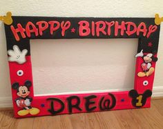 """Custom Photo Frame - Mickey, Monster inc, paw patrol and more Happy Birthday Decorations - PhotoBooth. Party frame 25 """"x Mickey 1st Birthdays, Mickey Mouse First Birthday, Mickey Mouse Clubhouse Birthday Party, Mickey Mouse Parties, Mickey Party, Party Photo Frame, Party Frame, Birthday Photo Frame, Photo Booth"""