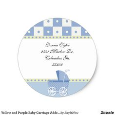 Yellow and Purple Baby Carriage Address Stickers