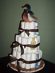 Mallard duck and camouflage diaper cake Craft Projects, Baby Shower, Baby Rooms, Mallard, Crafty, Gender Reveal, Children, Cake, Camouflage