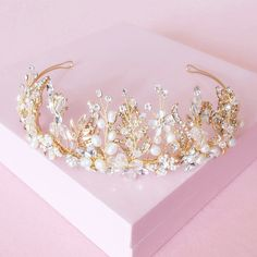 2015 Luxury Nature Pearl Tiara Gold Leaf Flower Crown Wedding Headpiece Handmade Bridal Hair Vine Accessories-in Hair Jewelry from Jewelry on Aliexpress.com | Alibaba Group