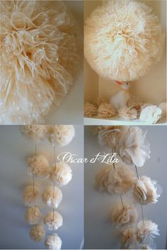 Tulle Pom Poms | tulle pom poms | Crafts and DIY