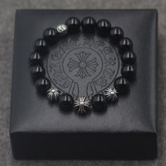 Cheap Chrome Hearts Silver Cross Ball Black Agate EXO Style Beads Bracelet for…