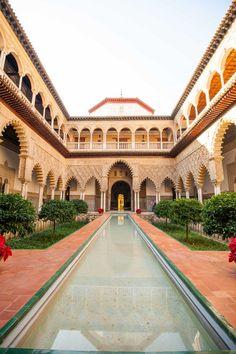 Patio de las Doncellas in the Reales Alcázares of Seville, Spain