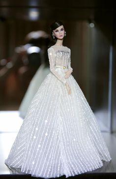 White dress for fashion royalty Poppy Parker Silkstone by Rimdoll