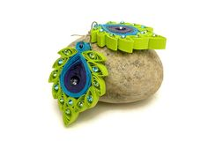 Peacock earrings  Quilling jewelry  Peacock by Herpaperparadise