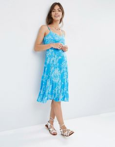 Image 1 ofASOS Pleated Midi Dress in Blue Summer Floral Print