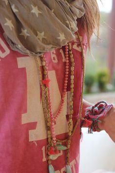 Starry scarf, wooden tassel beads, neon bracelets.