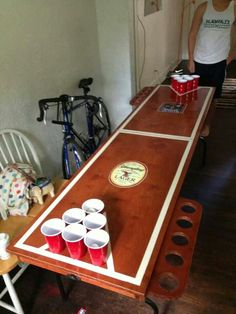 Folding wooden beer pong table