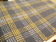 Gray and Yellow Log Cabin Plaid Scarf by filigreegarden, via Flickr