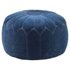 Kelsey Round Pouf Ottoman Blue - JLA Home