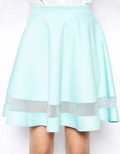 Image 3 of ASOS Skater Skirt In Scuba With Sheer Panel