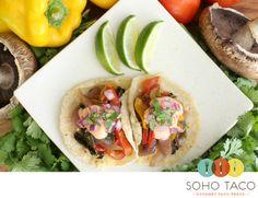 A pair of SOHO TACO's popular vegetarian tacos.