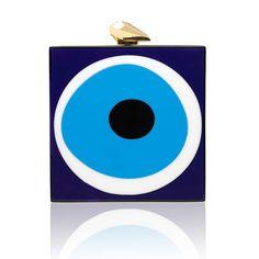 Fitzgerald Evil Eye, lbue, white and gold  KOTUR perspex clutch #clutch #clutchbag #eveningbag #minaudiere #evileye #perspexclutch #KOTUR #wintersale