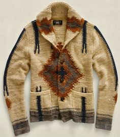 Ralph Lauren Navajo Sweater, white brown and navy, high-quality knitwear, fall fashion, Denim & Supply Look Fashion, Winter Fashion, Mens Fashion, Style Indien, A Well Traveled Woman, Shawl Collar Cardigan, Ralph Lauren, Mein Style, Mode Boho