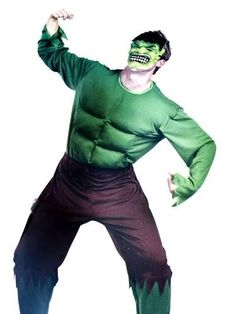 Green Hulk party costume with padded chest.