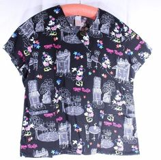 Disney Size 2X See Measurements Scrub Top Minnie Mouse in Paris Black Tie Back…