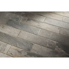 Shop Style Selections Ivetta Black Slate Glazed Porcelain Indoor/Outdoor Floor Tile (Common: 6-in x 24-in; Actual: 5.91-in x 23.62-in) at Lowes.com