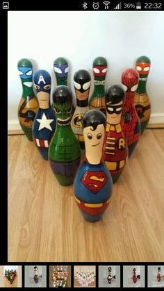 """Old bowling pins made into superheroes. now this is one of the best uses of old bowling pins we've seen! Bowling Ball Crafts, Bowling Ball Art, Bowling Pins, Bowling Quotes, Mosaic Projects, Projects To Try, Wood Projects, Craft Projects, Bottle Cap Table"