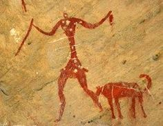 An early cave painting found in Europe, dating at least 15,000 years old. Humans and dogs could take down mammoths together.
