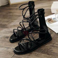 PU Heel Covering Block Heel Women's Flat Sandals