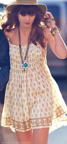 summer outfits womens fashion clothes style apparel clothing closet ideas.  Bohemian Style  short dress hat necklace