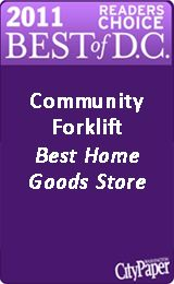 Community Forklift - I want to go here for materials to build backyard benches, a TV unit and a bedside table! And a laundry room door to put a doggy door in and new knobs for all of our bi-fold closet doors!  And a bathroom mirror and a new dining room fixture and rustic wall art!  And everything else!