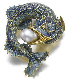 Art Nouveau Fish Brooch, Gold, Enamel and Pearl Enamel Jewelry, Pearl Jewelry, Jewelry Art, Antique Jewelry, Vintage Jewelry, Jewelry Design, Gold Jewelry, Fashion Jewelry, Amber Jewelry