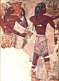 Aegean diplomats, as painted by 18th dynasty artists in the tomb of Senenmut. Ancient Egypt, reign of king Hatshepsut. Thebes, Upper Egypt.