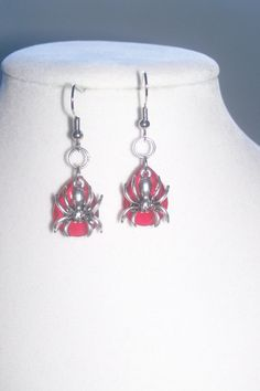 Red Spider Earrings by WinningWreaths on Etsy