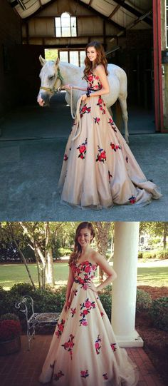 2017 prom dress, long prom dress, floral prom dress, strapless prom dress, elegant prom dress, party dress, dancing dress