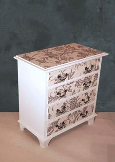 Vintage Painted Decoupage Small Chest of Drawers Cream Annie Sloan Laura Ashley in Home, Furniture & DIY, Furniture, Chests of Drawers | eBay