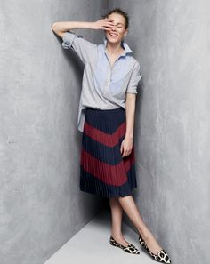 J.Crew women's bib popover shirt, pleated chevron skirt. To preorder call 800 261 7422 or email erica@jcrew.com.