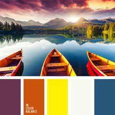 anaranjado y azul oscuro, azul oscuro y amarillo, color miel, combinación contrastante de colores, de color violeta, matices contrastantes, rojizo y amarillo, tonos vivos de colores amarillo y naranja, violeta y amarillo.