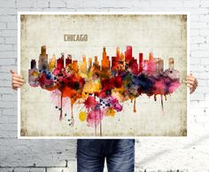 CHICAGO City Art Print - Cityscape Poster - Watercolor Abstract Painting on…