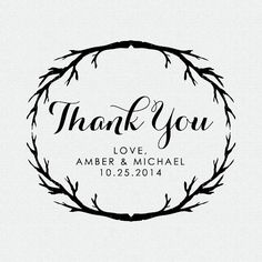 Custom Thank You Stamp Wedding Favor Self Inking by FallForDesign