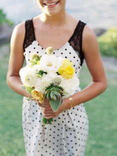 The perfect Polka dot bridesmaids dress!!   Maui Destination Wedding  Read more - http://www.stylemepretty.com/2013/12/12/maui-destination-wedding/