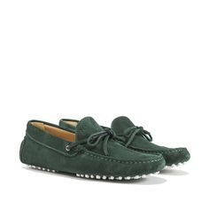 Driving Shoes in Italian Green suede with exposed hand-made stitching, hot-stamped M' and resistant studded white rubber outsole. Made in Portugal