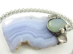 the undine  blue lace agate pendant with aqua by callistojewelry Grain Of Sand, Blue Lace Agate, Blue Chalcedony, Chakra Stones, Stainless Steel Chain, Pendant Jewelry, Metal Working, Cuff Bracelets, Aqua