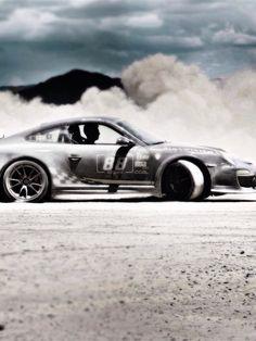 Cool drifting dirty Porsche