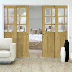Deanta Quad Telescopic Pocket Ely Oak Veneer Doors - Clear Bevelled Safety Glass - Unfinished.      #pocketdoors  #telescopicdoors  #internalslidingdoors