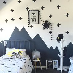 How about a bit of monochrome inspo? This amazeballs batman themed room has been styled to perfection by @cotton_and_stone using the @kmartaus 'super awesome kid' print, dipped stool, star LED, hat stand & laundry basket. Oh and the felt ball garland is by one of my absolute favourites @littlerosieandme Thanks so much for letting me share this amazing room @cotton_and_stone #kmartkidz #kmartau #kmartaus #kmartaustralia #kmartkids #kmartstyling