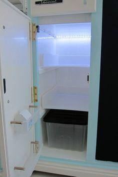 Inside the fridge.