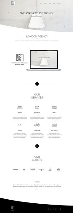 London Website Design / Black & White / Minimalistic / Wireframe / Whitespace / Photographs / Organised / Simple / Sophisticated / Wordpress