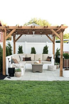 You don't need to travel far for a relaxing outdoor retreat. Turn your backyard into a beautiful oasis with one of these pergola ideas. We found free pergola plans, as well as fun decorating ideas for existing patio and porch covers. Backyard Gazebo, Backyard Seating, Backyard Patio Designs, Backyard Retreat, Backyard Pergola, Pergola Kits, Cozy Backyard, Diy Patio, Pergola Plans